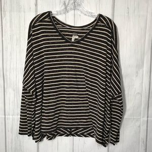 Free People We The Free Black and Tan Striped Top